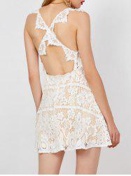 Floral Backless Criss Cross Lace Club Dress