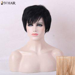 Siv Hair Short Fluffy Oblique Bang Human Hair Straight Wig