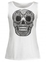 Scoop Neck Skull Print Tank Top
