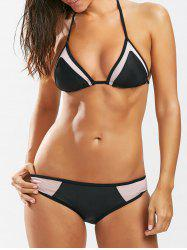 See-Through Insert Halter String Bikini