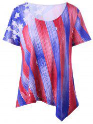 Stripe and Star Asymmetrical Plus Size T-Shirt