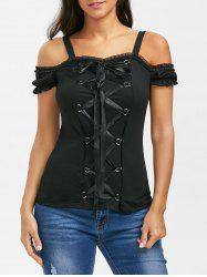 Lace Up Ruffle Trim T-Shirt - BLACK