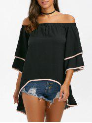 Off The Shoulder High Low Chiffon Blouse