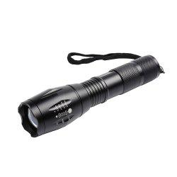 5 Modes Telescopic Zoom Waterproof Flashlight - BLACK