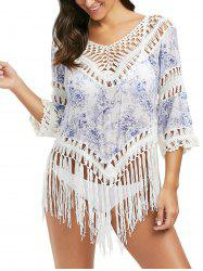 Print Crochet Panel Tunic Cover Up with Tassel - LIGHT BLUE