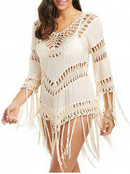 Crochet Openwork Tassel Cover Up