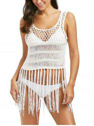Fringe Sleeveless Crochet Cover Up