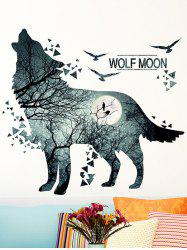 Removable Vinyl Night Wolf Moon Wall Sticker - BLUE GRAY