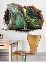 3D Lizard Animal Wall Broken Design Wall Sticker - COLORMIX