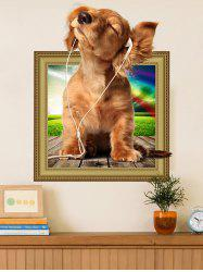 Removable 3D Dog Animal Vinyl Wall Art Sticker For Kids Room - BROWN