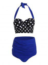 Vintage Plus Size Polka Dot High Waisted Bikini