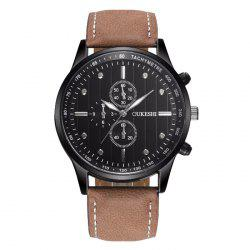 OUKESHI Faux Leather Band Tachymeter Quartz Watch -