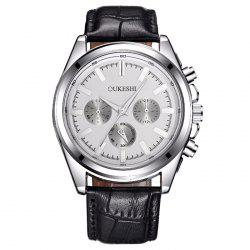 OUKESHI Faux Leather Strap Number Analog Watch