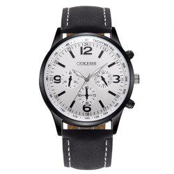 OUKESHI Faux Leather Strap Tachymeter Quartz Watch