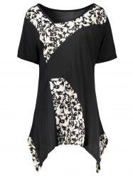 Plus Size Leaf Printed  Asymmetric Long T-Shirt