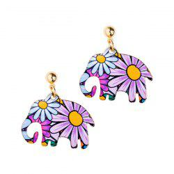 Floral Elephant Shape Design Drop Earrings