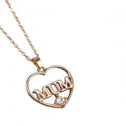 Rhinestone Heart Mother Pendant Necklace