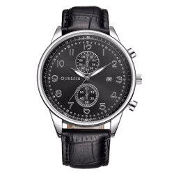 OUKESHI Faux Leather Business Calendar Watch