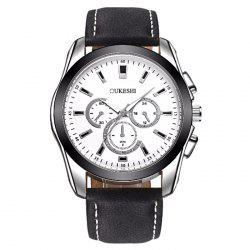 OUKESHI Faux Leather Quartz Business Watch