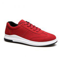 Tie Up Faux Suede Casual Shoes - RED