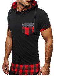 Side Zip Plaid Insert Hooded Tee - BLACK AND RED