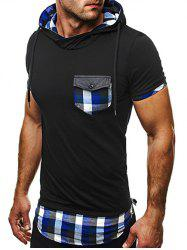 Side Zip Plaid Insert Hooded Tee - BLACK AND BLUE