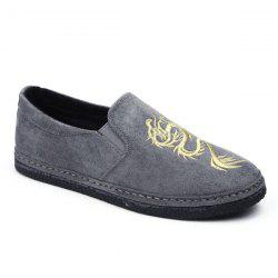 Elastic Band Embroidery Casual Shoes - GRAY