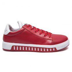 Letter Print Faux Leather Casual Shoes - RED
