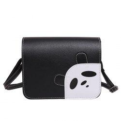 Flap Panda Pattern Crossbody Bag - BLACK