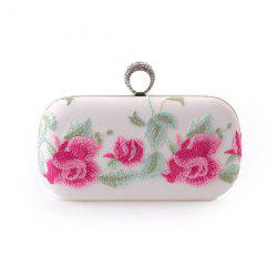 Metal Trim Flower Embroidered Evening Bag