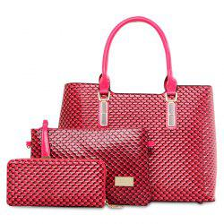 Embossed 3 Pieces Handbag Set
