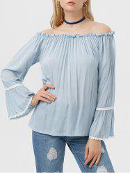 Off The Shoulder Flare Sleeve Ruffle Blouse