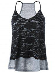 Racerback Lace Trim Tank Top - BLACK AND GREY