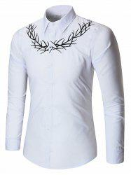 Turndown Collar Embroidery Shirt