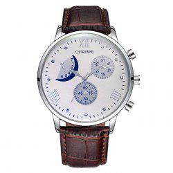 OUKESHI Faux Leather Moon Roman Numerals Watch - BROWN