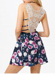 Floral Print Lace Panel Flare Dress