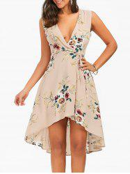 Floral Chiffon Sleeveless High Low Wrap Dress - APRICOT