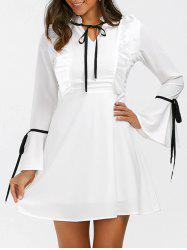 Ruffle Flare Long Sleeve Mini Skater Dress - Blanc