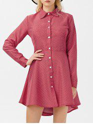 Polka Dot High Low Button Up Long SleeveDress