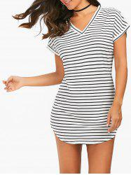 Casual V Neck Short Striped T-Shirt Tunic Dress