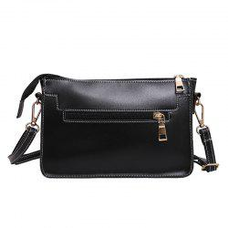 Front Zipper Pocket Crossbody Bag - BLACK