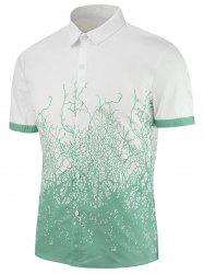 Short Sleeves Branch Printed Shirt