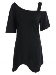 Plus Size Asymmetric Long Open Shoulder T-Shirt
