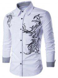 Long Sleeve Totem Pattern Shirt - WHITE