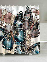 Butterfly Print Water Repellent Shower Curtain -