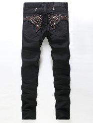 Rhinestone and Button Embellished Jeans - BLACK