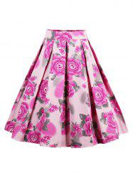 Printed High Waisted Skater Skirt - PINK 2XL