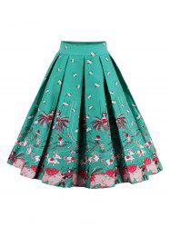 Printed High Waisted Skater Skirt - GREEN 2XL