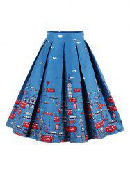 Printed High Waisted Skater Skirt - BLUE 2XL