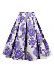 Printed High Waisted Skater Skirt - PURPLE